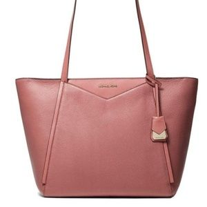 MICHAEL KORS WHITNEY PINK ROSE GOLD ZIPPERED TOTE